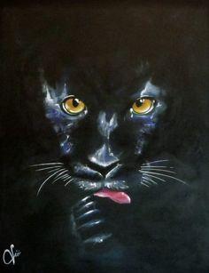 Pantera nera  Acrylic on canvas  by Violetta Viola