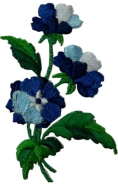 """[Single Count] Custom and Unique (2 3/8"""" by 3 1/4"""" Inches) Rectangle Wildflower Plant Bouquet Floral Bunch Iron On Embroidered Applique Patch {Blue, Green & White Colors}"""