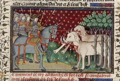 Cloven-hoofed Olyphaunts. Alexander's knights killing elephants with spears, by the Talbot Master. Historia de proelis in French (History of Alexander), in The Talbot Shrewsbury Book (Poems & Romances), c. 1444-45, northern French (Rouen). British Library: Royal 15 E VI fol. 16v.