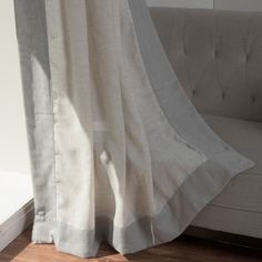 Aurora Home Colorblock Border Linen Blend Curtain Panel (Pair) (flax / grey (Flax/Grey)), Size 84 Inches Home Curtains, Panel Curtains, Home Decor Outlet, Color Blocking, Aurora, Living Spaces, Home And Garden, Blanket, Bed