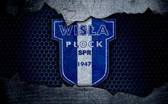 Download wallpapers Wisla Plock, 4k, logo, Ekstraklasa, soccer, football club, grunge, art, metal texture, Wisla Plock FC