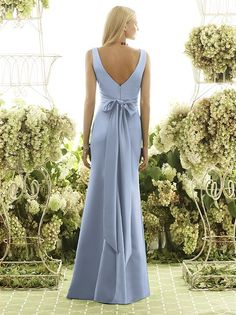 Back of cornflower matte satin Dessy bridesmaid dress in cloudy blue.