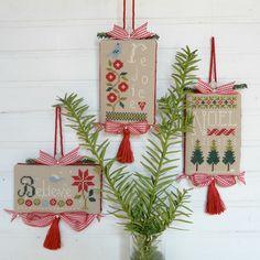 Believe, Rejoice, Noel cross stitch Christmas ornament finish