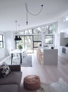 Loft - Apartment - White - Black - Grey - Modern - Kitchen - Eating Area - Lounge