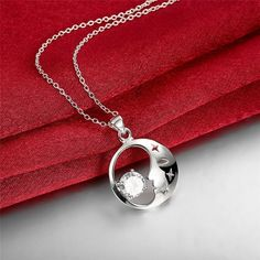 Luna collares y colgantes Mujeres La Moda de nueva sailor moon luna y estrella Colgante plateado Collar de Plata collares colgantes
