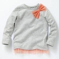 T-shirt manches longues finition tulle, La Redoute