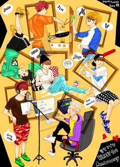 J-hope Jimin Jin Jungkook Rapmon Suga and..... V !!!! BTS
