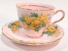 Heavenly Colclough Tea Cup and Saucer Pink Tea by AprilsLuxuries