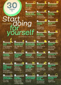 30 Things To Start Doing For Yourself happy life happiness positive emotions lifestyle mental health confidence infographic self improvement infographics self help emotional health Source. Self Development, Personal Development, Professional Development, Coaching, Good Advice, Life Advice, Self Esteem, Better Life, Self Improvement