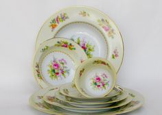 Noritake China, N5, Dresden Style Rose Pattern Occupied Japan (7) Piece Place Setting by Bon Appétit Antique by BonAppetitAntique on Etsy