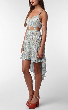 print spaghetti strap high low dress