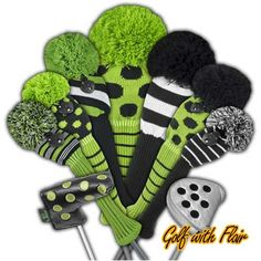 Green with Envy Lime Green & Black Knit Golf Club Headcovers Collection - Includes lime green w/ black dots and lime green/black/white striped knitted headcovers.  Accent the lime green/black headcovers w/ black & white headcovers and black with lime green dots putter covers.