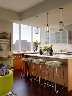 Check out these four spaces to install a Pod modern pendant light to achieve dynamic residential modern lighting.
