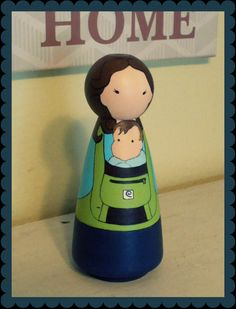 Custom Babywearing Peg Doll / Christmas Ornament / by MediocreToys