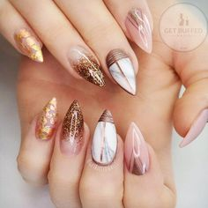 21 Stunning Gold Foil Nail Designs to Make Your Manicure Shine ★ Nude Nails Designs with Gold Foil Picture 1 ★ See more: http://glaminati.com/gold-foil/ #goldfoilnails #goldfoilnailart