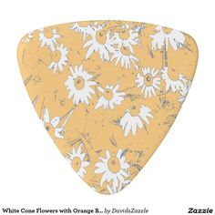 White Cone Flowers with Orange Background Guitar Pick Available on more products, type in the name of this design in the search bar on my products page to view them all!  #shasta #daisy #cone #calendula #orange #white #grey #gray #blue #floral #flower #pattern #print #all #over #abstract #plant #nature #earth #life #style #lifestyle #chic #modern #contemporary #guitar #pick #musician #gig #bag