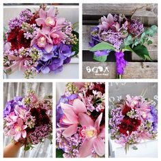 Ramo de novia colores morados con orquídea , lilas , hortensia....