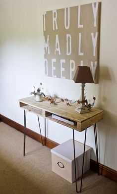 Industrial Handmade Reclaimed Pallet Console Table/Furniture Rustic Hairpin Legs
