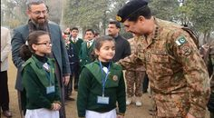 Army Chief Raheel Shrif visits APS peshawar after school re opening & greets children<3