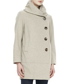 Cashmere Button-Closure Long-Sleeve Cocoon Coat by Sofia Cashmere at Neiman Marcus.
