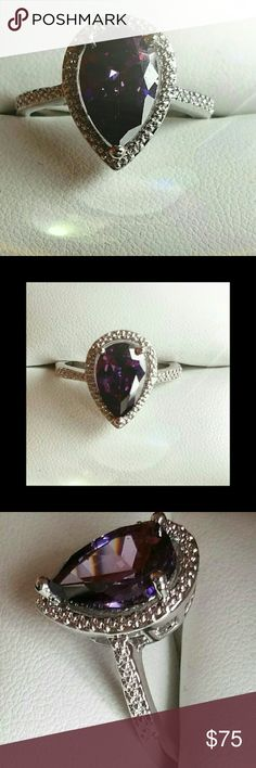 5.00 Carat Genuine Amethyst Ring Beautiful Pear Shape Genuine Amethyst Ring. It's absolutely Gorgeous, I had purchased it for myself & it doesn't fit unfortunately. Jewelry Rings