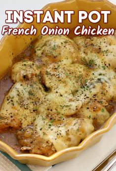 Instant Pot French Onion Chicken—caramelized onions with a flavorful sauce surrounds chicken that is topped with melty Swiss cheese. #instantpot #instapot #pressurecooker #chicken