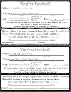 Parent teacher conference forms teacher conferences parents and these forms make it easy for any teacher to quickly invite parents to school for a conference there are also two forms for a reminder notice and also a altavistaventures Gallery