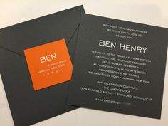 A handsome and sleek invitation with just a pop of color - this invitation is also edged in orange to match the tag - Love it! Box Invitations, Bar Mitzvah Invitations, Custom Invitations, Torah, Bat Mitzvah, Confirmation, Announcement, Color Pop
