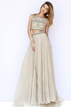Beaded Long Nude Two Piece Grad Prom Dresses 2015