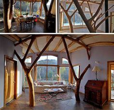 Sustainable House Design by Whole Tree Architecture-Interior Living Room Maison Earthship, Earthship Home, Modern Tree House, Tree House Designs, Natural Homes, Earth Homes, Natural Building, Beautiful Buildings, Trees Beautiful