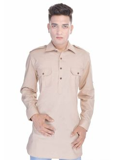 Kalrav Fashion Beige Pathani Cotton Kurta