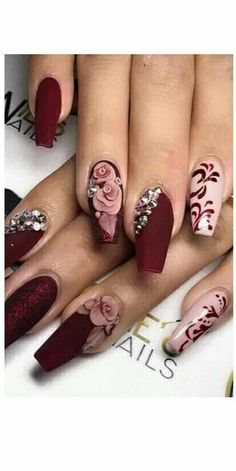The Post Beautiful Nails ! first appeared on Trendy. # Informations About Wunderschöne Nägel … Glam Nails, Bling Nails, Cute Nails, Fancy Nails, 3d Nails, Coffin Nails, Nail Art 3d, Bling Nail Art, Rose Nail Art