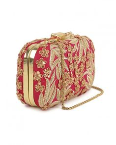Peach Clutch with Embroidered Detailing Sequins Fashion Trend - Floral Embroidery - Box Clutch - Latest Accessory Trend