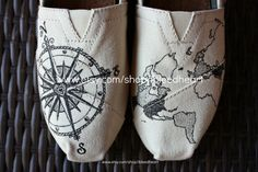Adult - Travel Compass and World Map - Custom Painted TOMS Shoes via Etsy