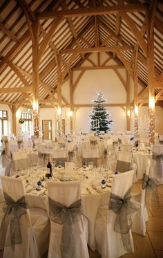 Rivervale Barn dressed for a Christmas wedding