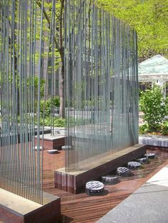 Steel Partition Ideas: Harry Bertoia: his work with metal sculpture and household designs (chairs, etc.) is cutting edge, yet inviting due to the clean lines paired with the curves. House Landscape, Landscape Walls, Landscape Architecture, Landscape Design, Architecture Design, Fence Design, Garden Design, Sound Sculpture, Metal Sculptures
