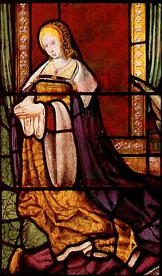 A Stained Glass Portrait of Catherine of Aragon: A portrait of the young queen at the height of her beauty and the king's love, circa 1512. The Chapel at The Vyne