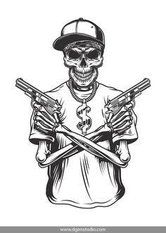 Skull art tattoo shirts 17 ideas for 2019 Skeleton Art, Skeleton Drawings, Skull Drawings, Japanese Tattoo Symbols, Japanese Tattoos, Gangster Tattoos, Gangster Style, Tattoo Shirts, Skull Illustration