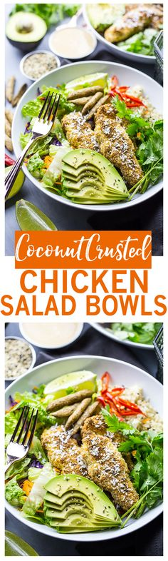 Baked Coconut Crusted Chicken Salad Bowls | With brown rice & peanut dressing!