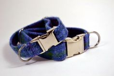 Gorgeous Harris Tweed Dog Collar - Blue Check. Perfect for your doggy friend.  Available in the Tartan Week Shop. www.tartanweek.com/shop