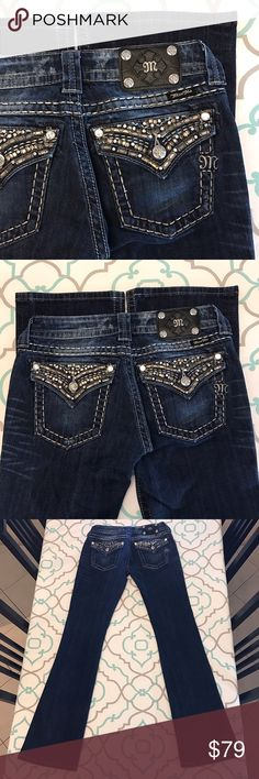 """Gorgeous Miss Me Jeans27 3/4 33.5"""" LOVE!!! Gorgeous Miss Me Jeans Size (27 3/4). Long & Tall. 33.5"""" Inseam. Perfect with High Heels! ; ) 7.5"""" Rise. Low Waist. 14"""" Across Back. Great Stretch. Dark Blue Wash. Medium Gray. Gunmetal Gray Beading. Bling! Silver Thread.  Thick Stitching. Lightly Distressed. So Lovely!!! Miss Me! The Buckle! Ask me any questions! : ) Miss Me Jeans Boot Cut"""