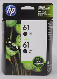 HP 61 Ink Cartridges Black Twin Pack Genuine Sealed Box CZ073FN 02 2018 Exp - This HP 61 black original ink cartridges twin-pack is compatible with various HP Deskjet, Envy, and HP Officejet printers.