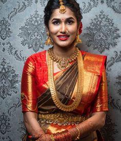 Pattu Sarees Wedding, Indian Bridal Sarees, Wedding Silk Saree, Indian Silk Sarees, Wedding Blouses, Punjabi Wedding, Wedding Dresses, South Indian Bridal Jewellery, Indian Jewellery Design
