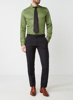 Profuomo Slim fit overhemd met stretch in uni • de Bijenkorf