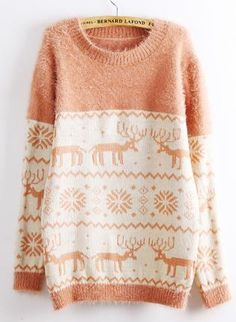 Deer & Snowflakes Print Fluffy Sweater,  Sweater, fluffy sweater  deer print sweater  snowflakes, Chic. A great sweater to pair with leggings, a scarf and boots for a fun, christmas activities planned outing.