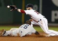 Boston Red Sox's Dustin Pedroia gets the throw before tagging out New York Yankees' Eduardo Nunez (26), who was trying to steal second base in the 11th inning of a baseball game in Boston, early Monday, July 22, 2013. The Red Sox won 8-7 in 11 innings. (AP Photo/Michael Dwyer)