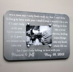 Wedding Vows or Song Engraved Picture Frame