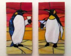 Classy Penguins set of 2 Stained Glass Mosaics