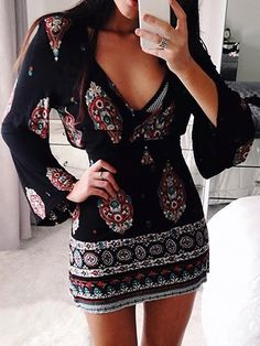 Deep V Neck Vintage Bell Sleeve Bodycon Dress – Familyter Sexy Dresses, Casual Dresses, Short Dresses, Fashion Dresses, Dresses With Sleeves, Sleeve Dresses, Mini Dresses, Summer Dresses, Elegant Dresses