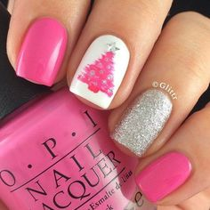 Are you looking for some cute nails desgin for this christmas but you are not sure what type of Christmas nail art to put on your nails, or how you can paint them on? These easy Christmas nail art designs will make you stand out this season. Fancy Nails, Love Nails, How To Do Nails, Trendy Nails, Pink Nails, Red And Silver Nails, Pink Shellac, Nail Black, Sparkly Nails
